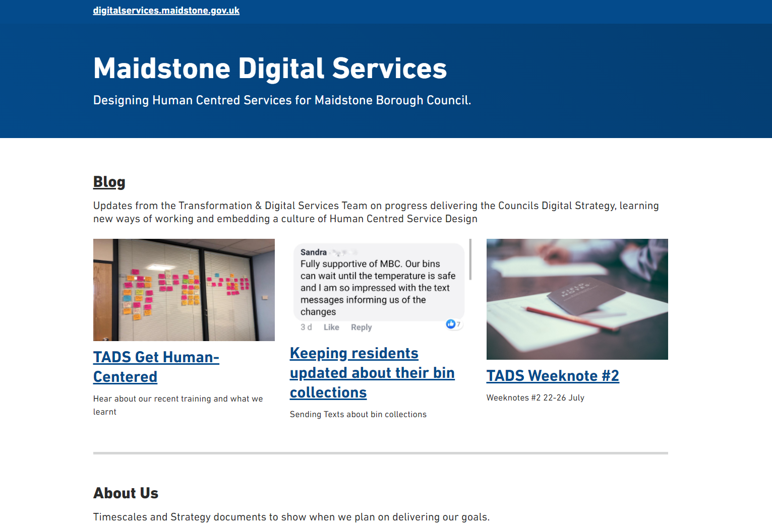 digital services homepage
